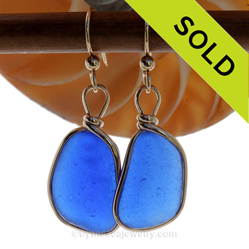 LARGE THICK and P-E-R-F-E-C-T Cobalt Blue Genuine Sea Glass Earings 14K Goldfilled Original Wire Bezel©