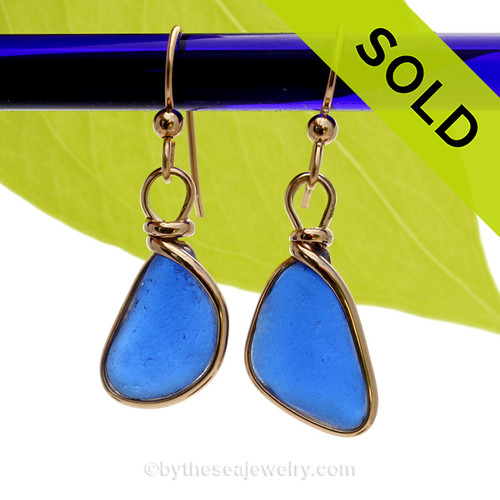PERFECT Genuine Beach Found Cobalt Blue Sea Glass Earrings In Gold Original Wire Bezel©