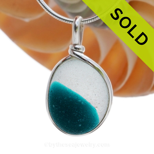 LARGE Spot of Teal Electric English Sea Glass Sterling Original Wire Bezel© Pendant. SOLD - Sorry this Rare Sea Glass Pendant is NO LONGER AVAILABLE!