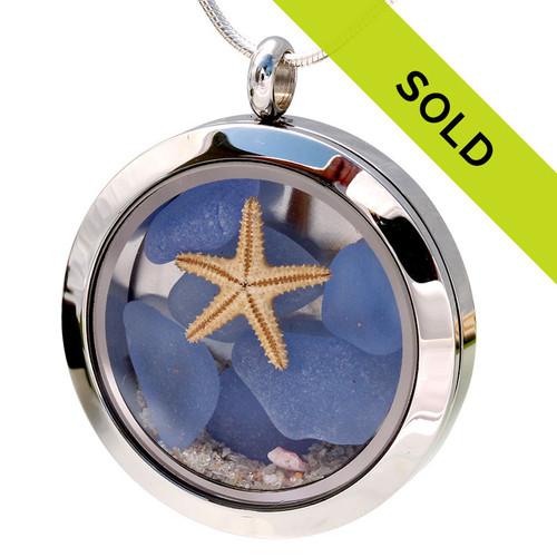 Light & Dark Blue Sea Glass & Starfish Locket