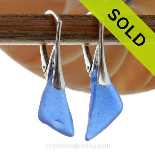 Triangles of Lightweight Genuine Blue Sea Glass Earrings on Solid Sterling Leverbacks