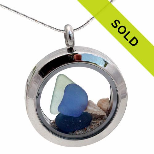 Blue & Aqua Sea Glass W/ Shells In Stainless Steel Locket