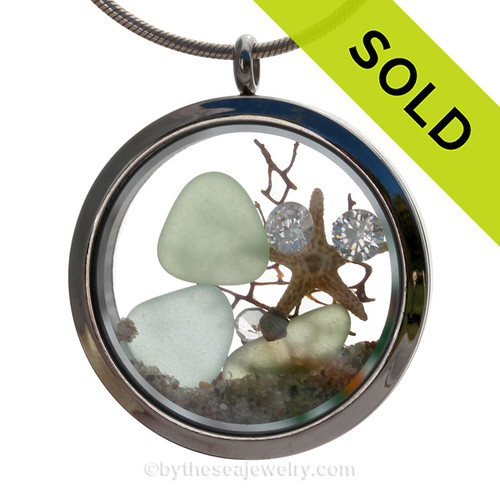 "Diamonds and Dunes - Seafoam and Pale Aqua Green Genuine Sea Glass With Starfish & ""Diamonds"" Gems Stainless Steel Locket ("