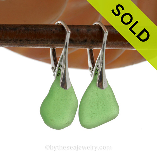 Simply Elegant- Green Genuine Sea Glass On Solid Sterling Silver Leverback Earrings