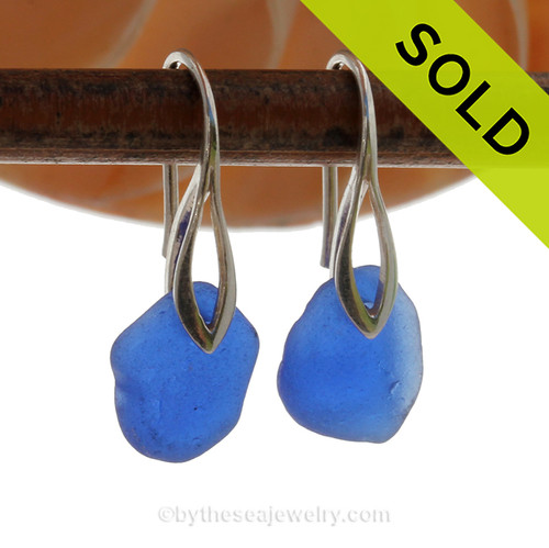 Beach Found Cobalt Blue Sea Glass Earrings On Silver Silver Deco Hooks