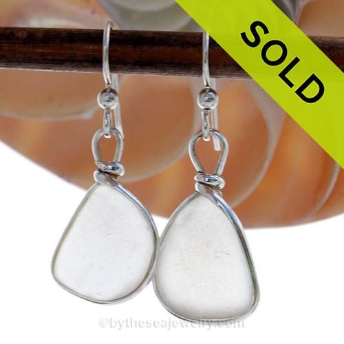 Fresh White Genuine Sea Glass Earrings In Sterling Original Wire Bezel©