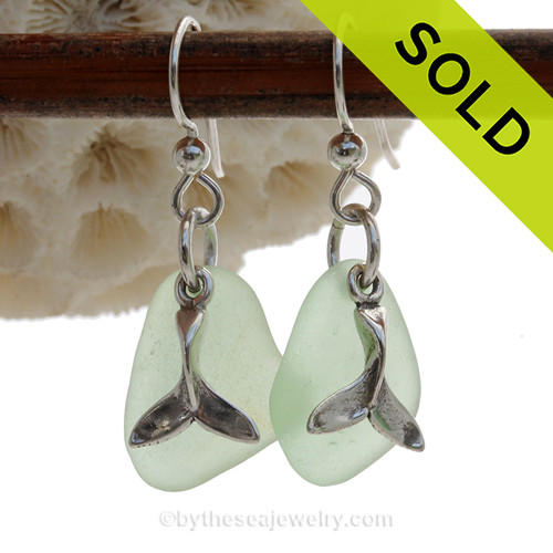 Sea Charmed - Yellowy Green Green Sea Glass Earrings W/ Sterling Whale Tail Charms