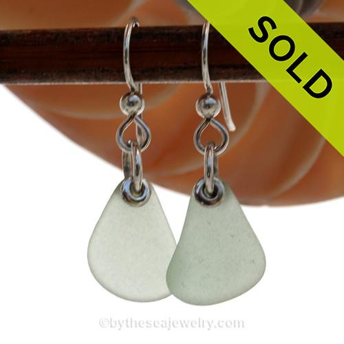 Simply Sea Glass - Lighweight Seafoam Green Sea Glass Earrings On Sterling