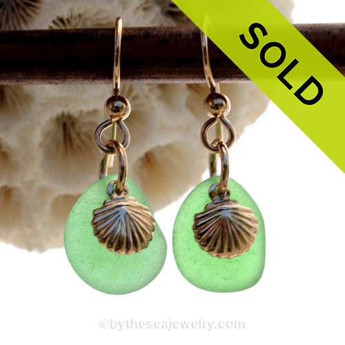 Sea Charmed - Genuine Green Sea Glass Earrings On Gold With Sea Shell Charms