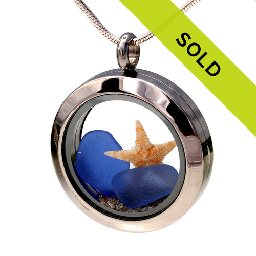 2 Blue Sea Glass Pieces & Starfish Locket With Real Sand