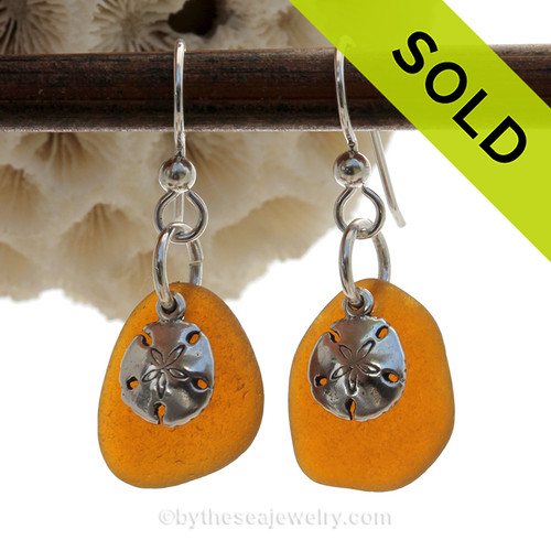 Honey Brown Perfect Sea Glass Earrings W/ Solid Sterling Sandollar Charms