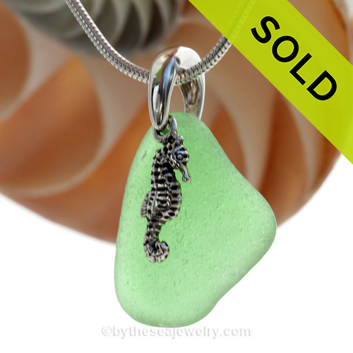 "Spring Green Sea Glass Necklace with Sterling Silver Seahorse Charm - 18"" Solid Sterling Chain INCLUDED"