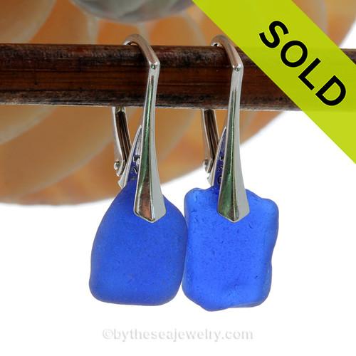 Squarish Thicker Petite Genuine Blue Sea Glass Earrings on Solid Sterling Leverbacks
