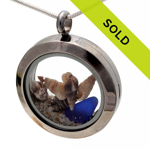 Beachlovers Blue Sea Glass Locket With Shells & Sand
