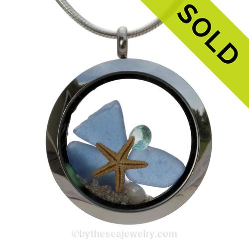 Carolina on my Mind  - Genuine Carolina Blue Beach Found Sea Glass, Starfish & Aquamarine Gem