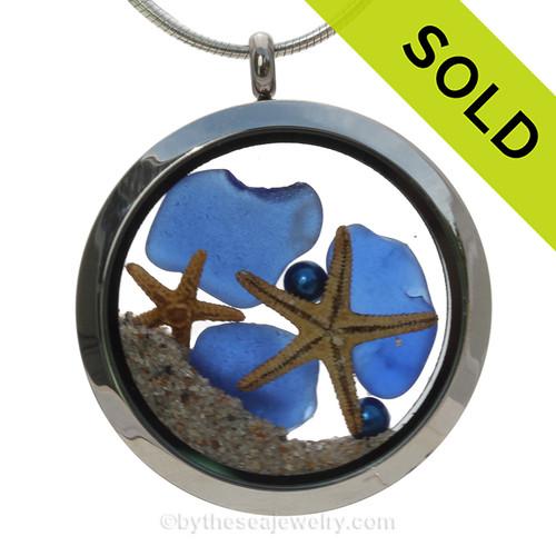 Blue Sea Glass & Blue Round Water Pearls, Starfish and Beach Sand - JUMBO 35MM Locket