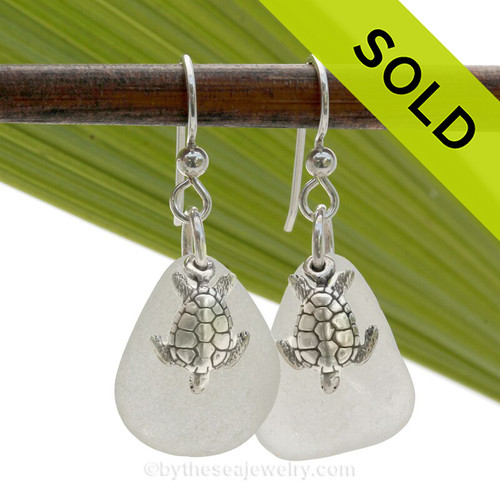 White Sea Glass earrings in Solid Sterling with Sterling Sea Turtle Charms