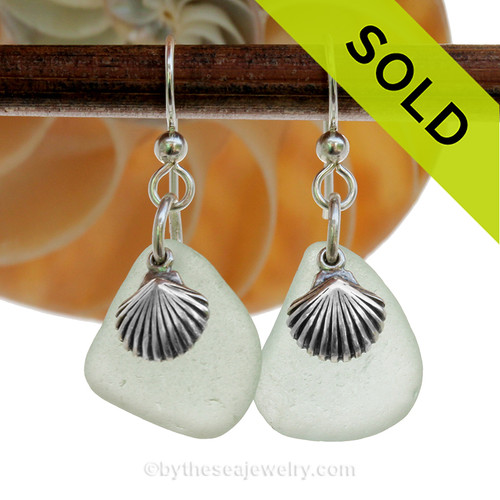 Lovely Seafoam Green Genuine Beach Found Sea Glass Earrings On Sterling W/ Solid Sterling Shell Charms
