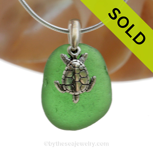 "P-E-R-F-E-C-T Vivid Green Sea Glass Necklace with Sterling Silver Sea Turtle Charm - 18"" Solid Sterling Chain INCLUDED"