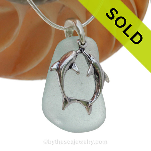 """LARGER Pale Aqua Green sea glass set on a Solid Sterling Cast bail with a Sterling Silver Kissing Dolphins Charm -  18"""" Quality Chain INCLUDED!"""