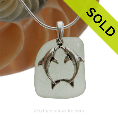 "Squarish Seafoam Green Sea Glass With Sterling Silver Large Kissing Dolphins Charm - 18"" STERLING CHAIN INCLUDED"