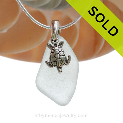 """Smaller Pale Aqua Green Sea Glass Necklace with Sterling Silver Sea Turtle Charm - 18"""" Solid Sterling Chain INCLUDED"""