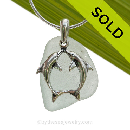 """LARGER Seafoam Green sea glass set on a Solid Sterling Cast bail with a Sterling Silver Kissing Dolphins Charm -  18"""" Quality Chain INCLUDED!"""