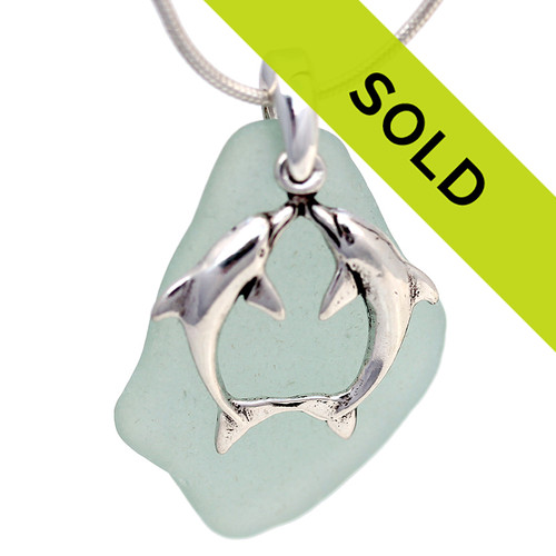 Sorry this seafoam green sea glass necklace with dolphins has been sold!