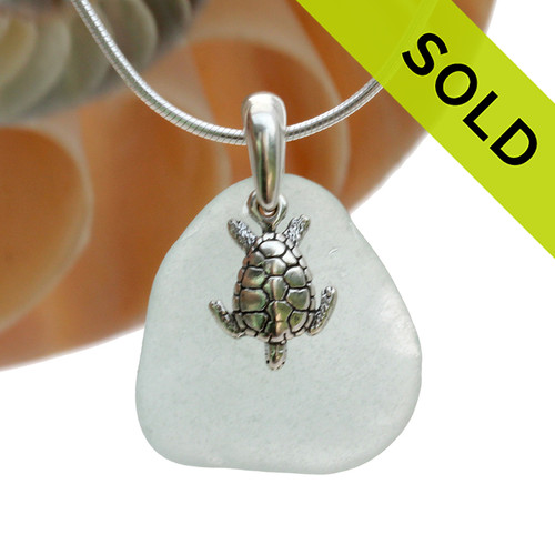 """Larger Pale Aqua Green Sea Glass Necklace with Sterling Silver Sea Turtle Charm - 18"""" Solid Sterling Chain INCLUDED"""