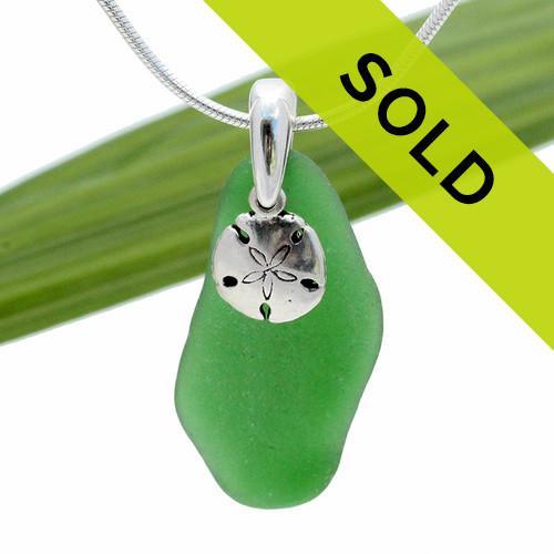 Green Genuine Sea Glass With Sterling Sandollar
