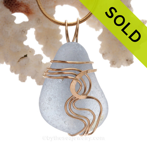 Perfect Vivid Ice Blue Sea Glass Signature Waves©14K Goldfilled Setting Pendant