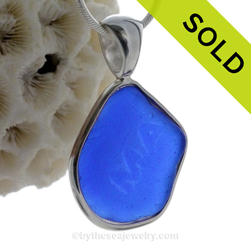 "Blue ""MA ""-  LARGE Cobalt Blue Genuine Sea Glass Bottle Bottom In Deluxe Wire Bezel© Pendant in Silver"