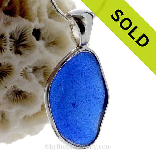LARGE Organic Cobalt Blue Genuine Sea Glass In Solid Sterling Deluxe Wire Bezel© Pendant