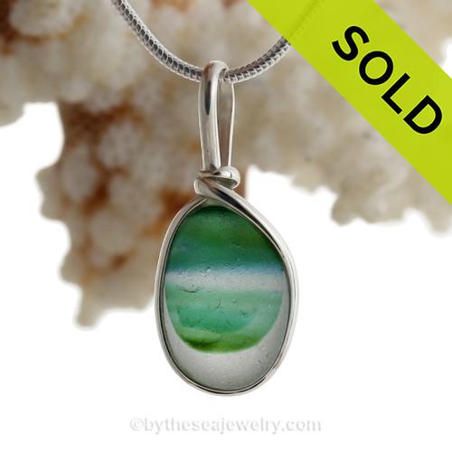 Spring Tides - Petite Aqua & Bright Spring Green Multi Seaham Sea Glass In Sterling Silver Original Wire Bezel©