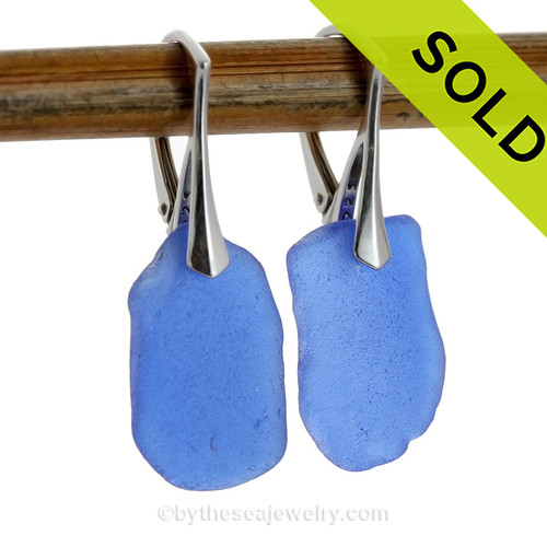 Large Yet Lightweight Lovely Simply Sea Glass Cobalt Blue  Beach Found Sea Glass Earrings on Sterling Leverback Earrings.  Blue sea glass becomes increasing as each wave passes. Shaped only by tide and time and UNALTERED from the way it was found on the beach (other than the hole).