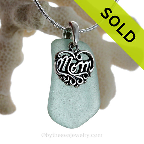 "Just For Mom - Stunning Aqua Green Genuine Sea Glass Necklace & Sterling MOM Heart Charm 18"" Solid Sterling Chain INCLUDED"