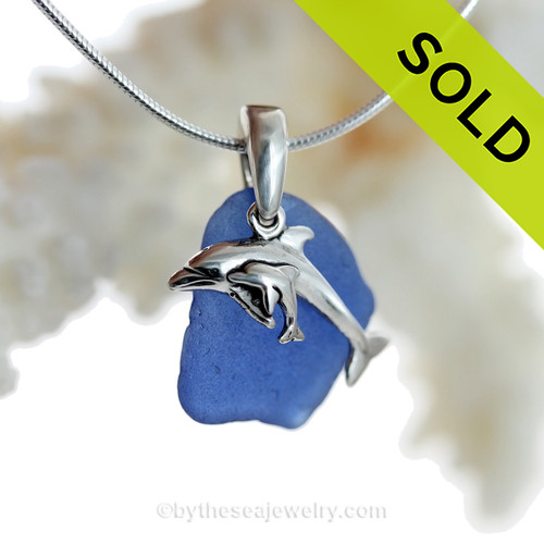 """Mother and Child - Rare Cobalt Blue Sea Glass With Sterling Silver Dolphins Charm - 18"""" STERLING CHAIN INCLUDED"""