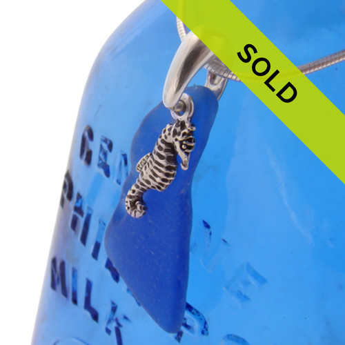 Sea Charmed - Cobalt Sea Glass On Sterling W/ Small Seahorse Necklace