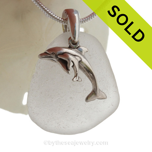 """Mother and Child - Pure White Sea Glass With Sterling Silver Dolphins Charm - 18"""" STERLING CHAIN INCLUDED"""
