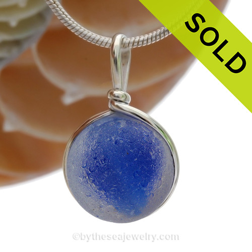 Eye Of The Stream  - Genuine Seaglass Marble In Original Wire Bezel© Necklace Pendant