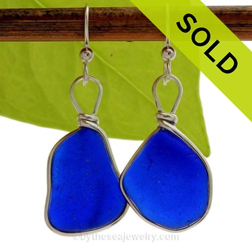 HUGE Intense Cobalt Blue Sea Glass Earrings in our Original Wire Bezel© in Solid Sterling Silver
