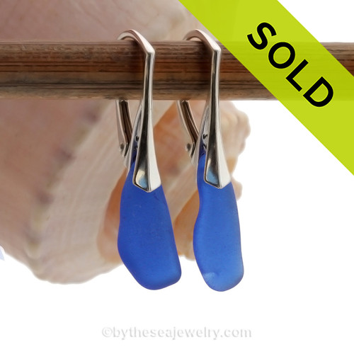 Simple and Elegant Petite and Perfect Genuine Cobalt Blue  Beach Found Sea Glass Earrings on Sterling Leverback Earrings.