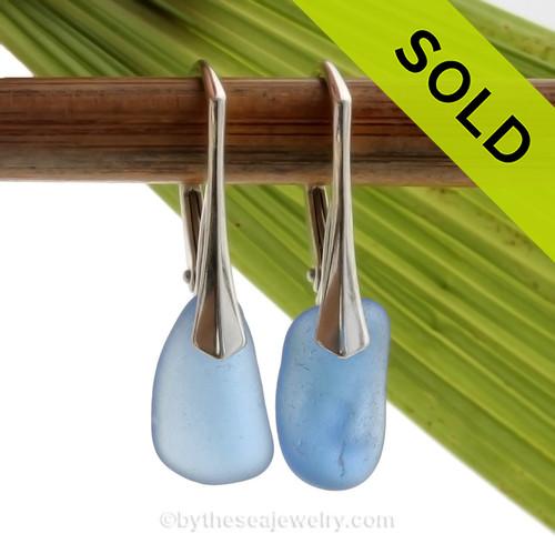 Simple and Elegant Larger Genuine Cobalt Blue  Beach Found Sea Glass Earrings on Sterling Leverback Earrings.