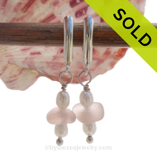 Soft Peach Beach Found Sea Glass Earrings on Sterling Leverback Earrings and Sterling Details and Freshwater Pearls