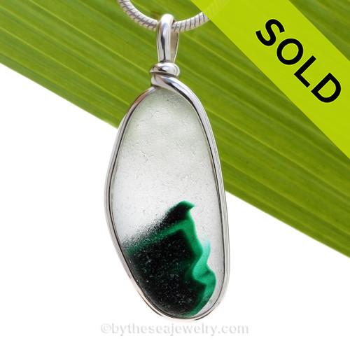 Green Spring -  RARE Teal Green & Pure White Multi Sea Glass Pendant In Original Wire Bezel Setting©