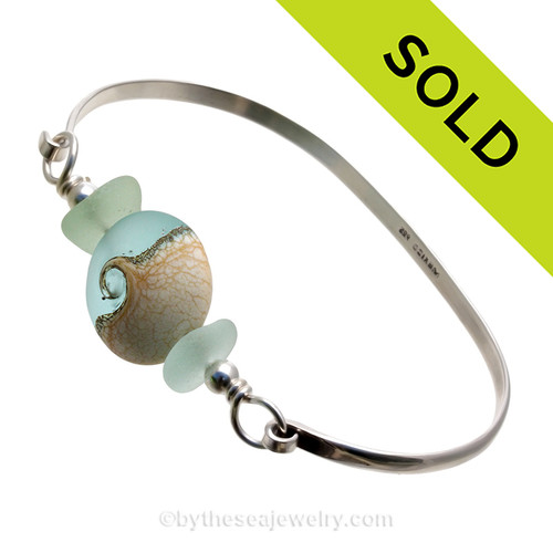 Spring Seas - Premium Sea Glass Bangle Bracelet with Seafoam Sea Glass and Wave Bead (SB11308) SOLD - Sorry this Sea Glass Bangle Bracelet is NO LONGER AVAILABLE!