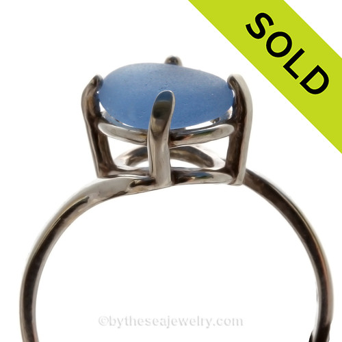 A stunning simple Carolina Blue sea glass ring perfect for any sea glass lover!