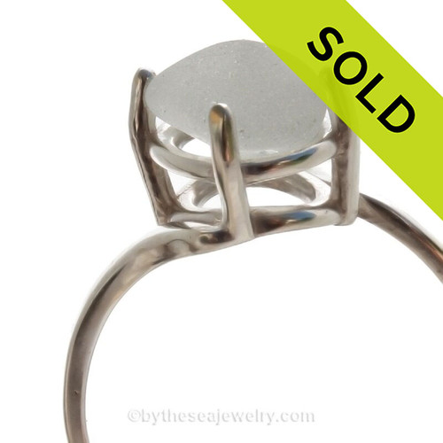 A stunning simple Pure Bright White sea glass ring perfect for any sea glass lover!
