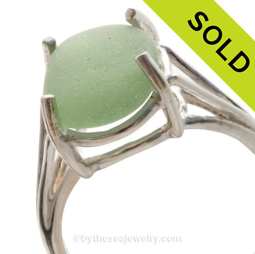 Seafoam Green Beach Found Sea Glass In Sterling Silver Basket Ring - Size 6