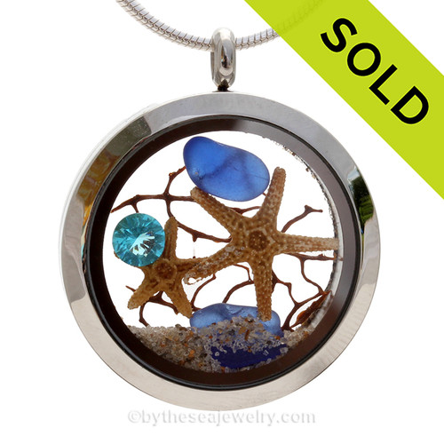 Tropical Spring - Genuine Cobalt Beach Found Sea Glass, Starfish and Aquamarine Gem. SOLD - Sorry this Rare Sea Glass Locket is NO LONGER AVAILABLE!